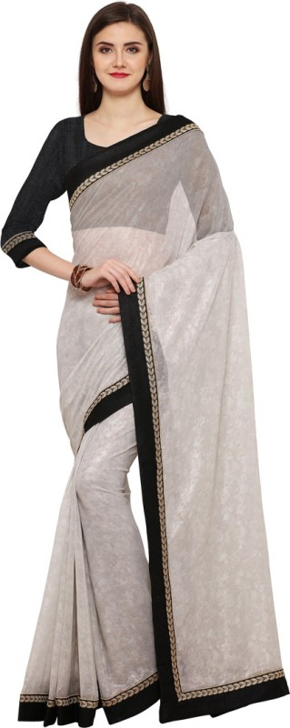 Saara Solid, Plain Fashion Shimmer Fabric Saree(Black, Grey)