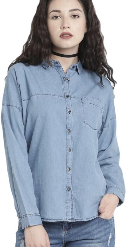 Roadster Women Solid Casual Dark Blue Shirt