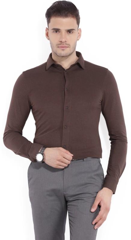 Arrow New York Men's Solid Formal Brown Shirt