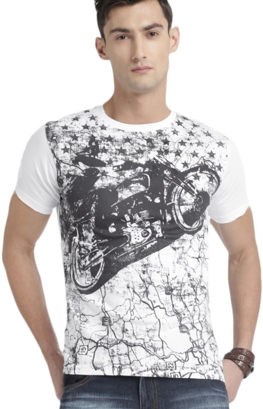 Roadster Printed Men Round Neck White, Black T-Shirt