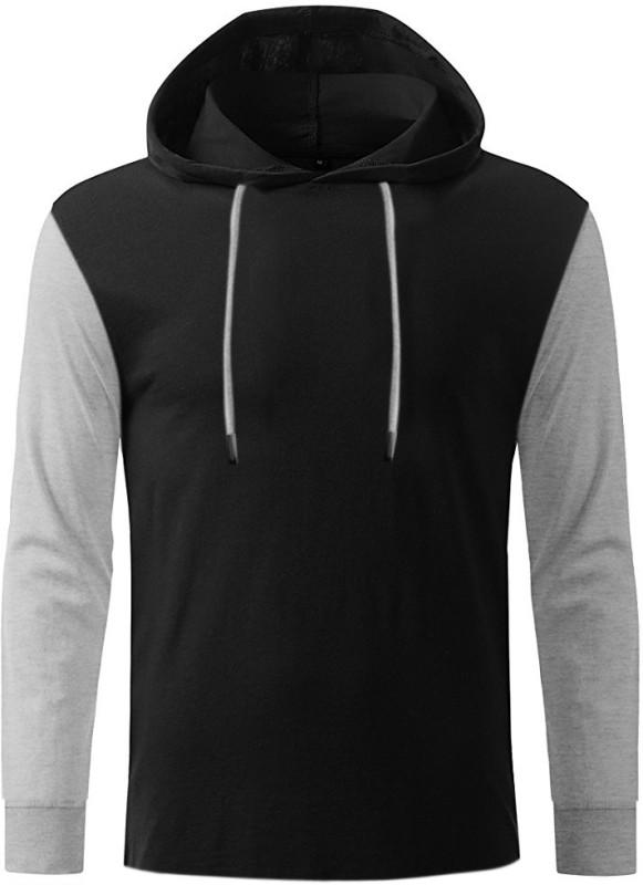GHPC Solid Men's Hooded Black T-Shirt