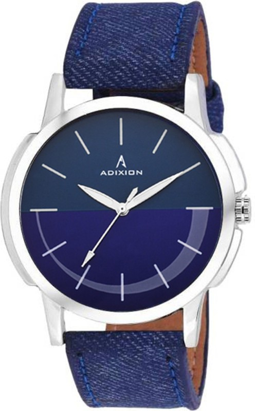 ADIXION 9520SLP4 Youth Stainless Steel watch with Genuine Leather Denim Strep Men's Watch image
