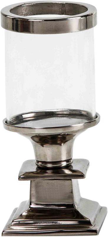 Sammsara Xeno Mini Hurricane Candlestand Square Glass, Aluminium 1 - Cup Candle Holder(Steel, Pack of 1)