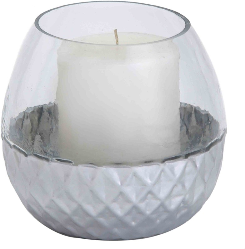 Sammsara Valencia 2 tone glass votive/candleholder Silver Glass 1 - Cup Candle Holder(Silver, Pack of 1)