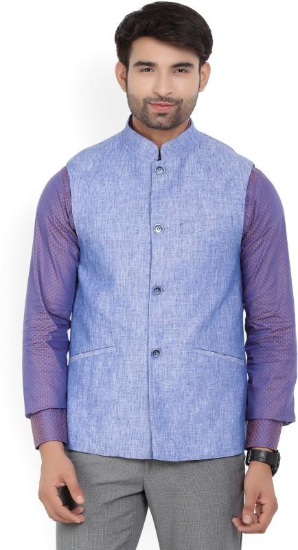 Park Avenue Sleeveless Self Design Men Linen Jacket