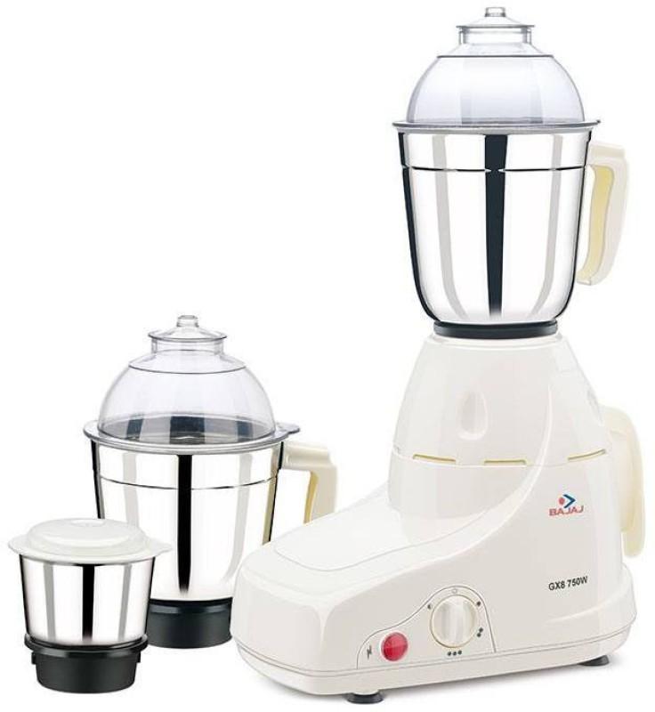 Bajaj GX8 Gx8 750 W Mixer Grinder(White, 3 Jars)