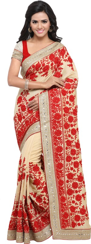 Rola Trendz Embroidered, Self Design, Solid Fashion Cotton Silk Saree(Beige)