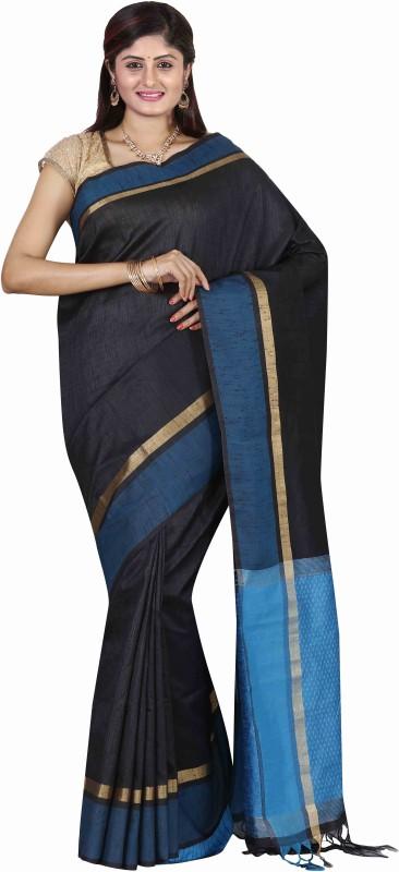 The Chennai Silks Plain Banarasi Dupion Silk Saree(Black)