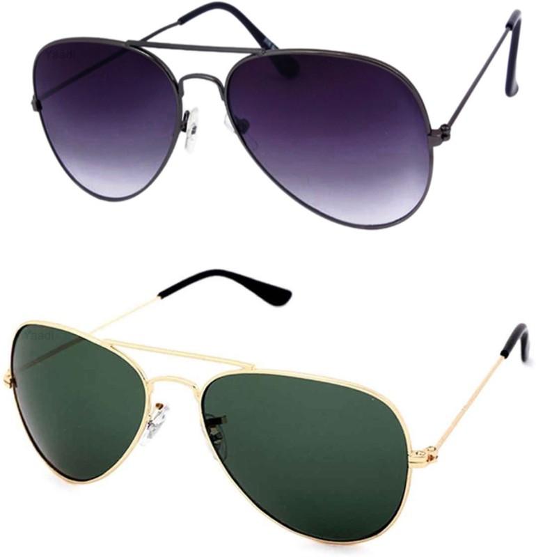Yaadi Aviator Sunglasses(Green, Black) image