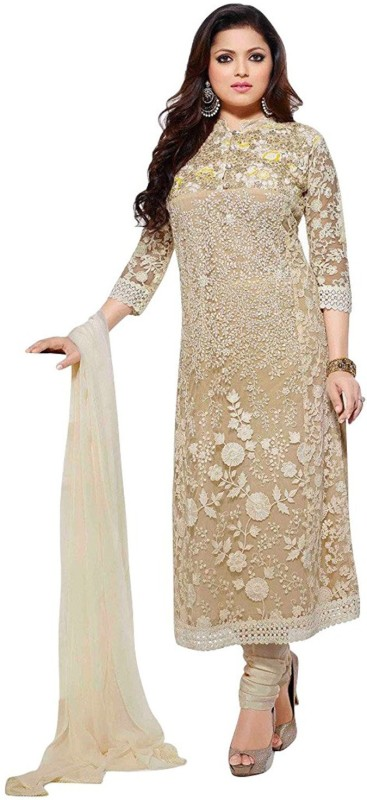 Aryan Fashion Store Net Embroidered Semi-stitched Salwar Suit Dupatta Material