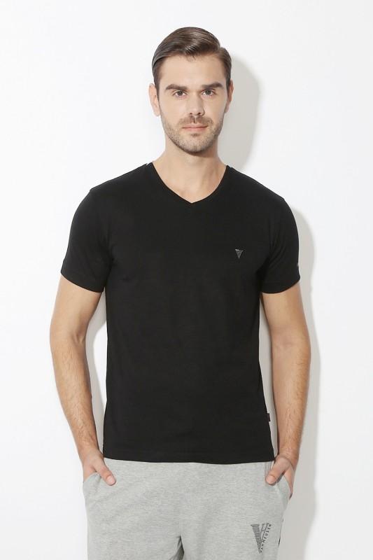 Van Heusen Solid Men V-neck Black T-Shirt