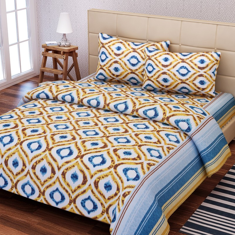 SEJ by Nisha Gupta 144 TC Cotton Double Geometric Bedsheet(1 Bedsheet, 2 Pillow Covers, Brown)