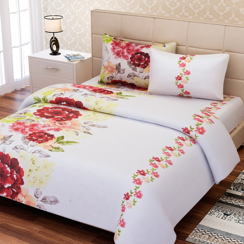SEJ by Nisha Gupta 180 TC Cotton Double King Floral Bedsheet(1 Bedsheet, 2 Pillow Covers, Red)