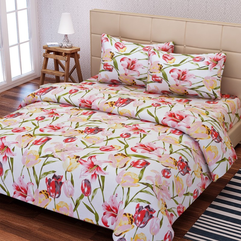 SEJ by Nisha Gupta 144 TC Cotton Double Floral Bedsheet(1 Bedsheet, 2 Pillow Covers, Red)