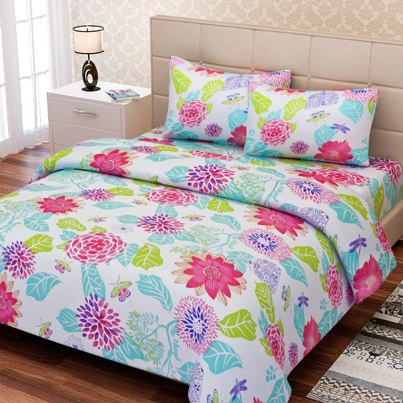 SEJ by Nisha Gupta 144 TC Cotton Double Floral Bedsheet(1 Bedsheet, 2 Pillow Covers, Pink)