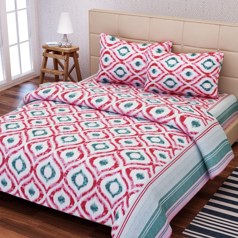 SEJ by Nisha Gupta 144 TC Cotton Double Geometric Bedsheet(1 Bedsheet, 2 Pillow Covers, Red)