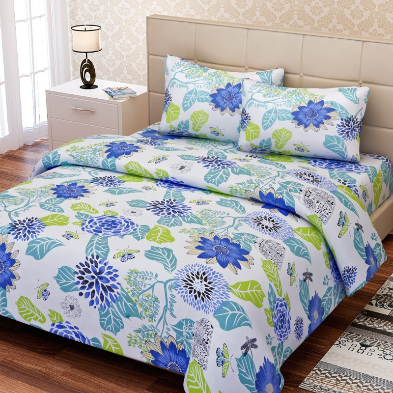 SEJ by Nisha Gupta 144 TC Cotton Double Floral Bedsheet(1 Bedsheet, 2 Pillow Covers, Blue)