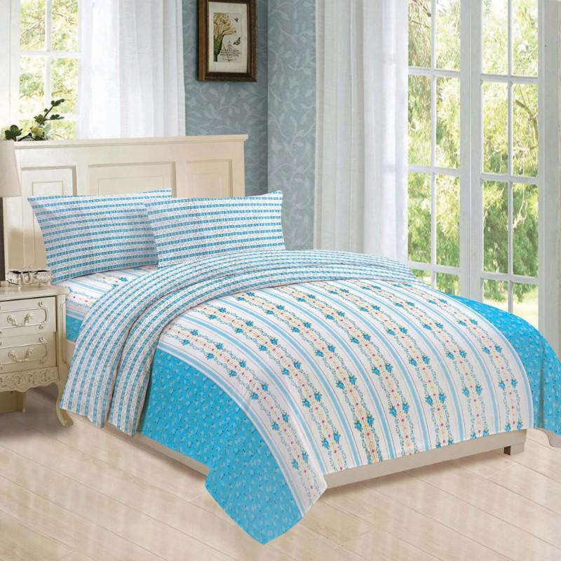 BLUSH 144 TC Cotton Double Geometric Bedsheet(Pack of 16, WHITE & BLUE)