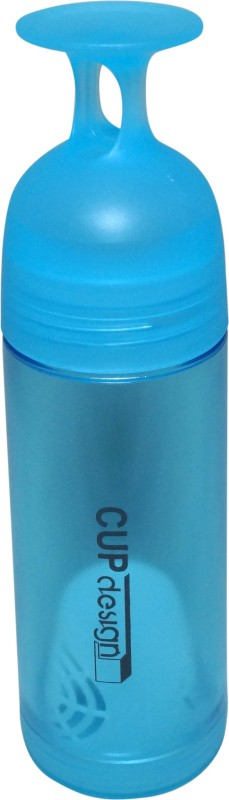 Manbhari Blue water bottle with cup shaped lid and strainer attached 600 ml Bottle(Pack of 1, Blue)