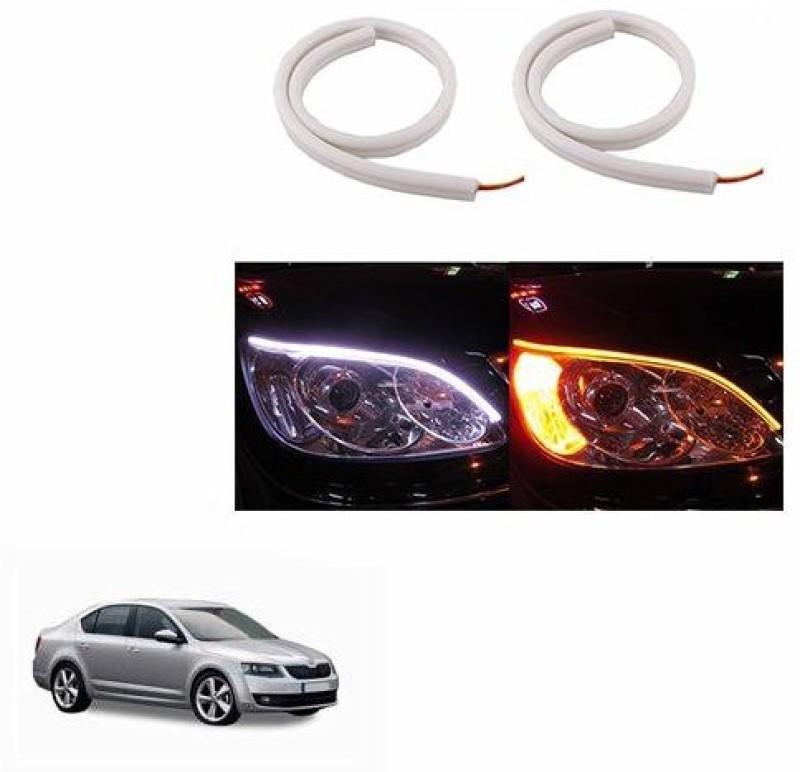 A2D 22449 60cm Audi Style Flexible Daytime DRL+Indicator Set Of 2 Car Fancy Lights(White)