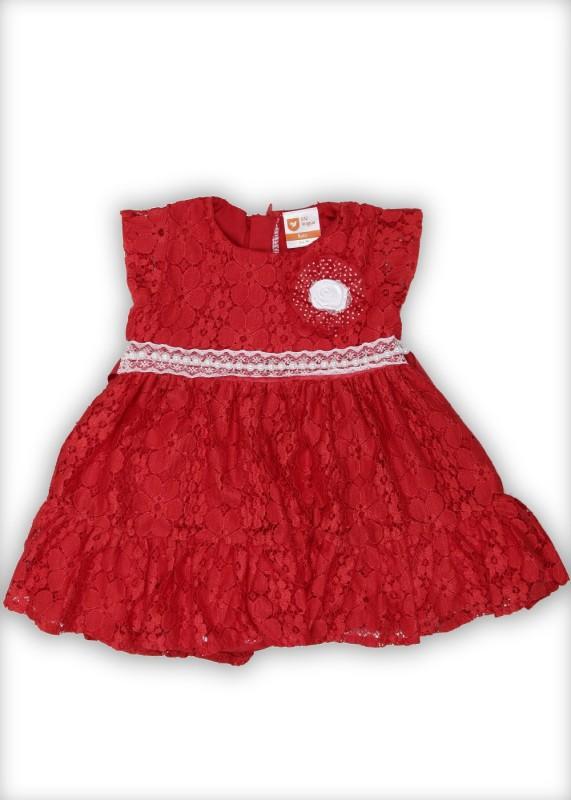 612 League Girls Midi/Knee Length Casual Dress(Red, Cap Sleeve)