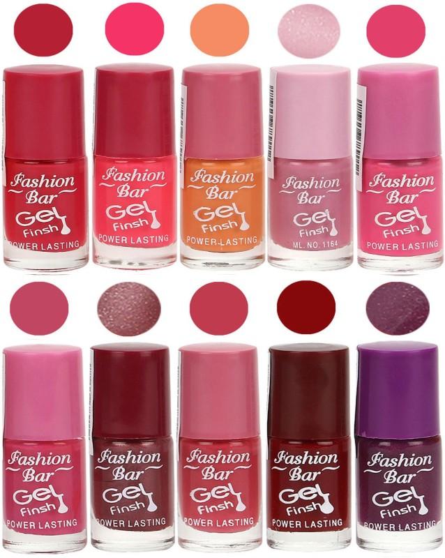 Fashion Bar Velvet Gel Finish Nail Polish Red, Pink, Purple, Brown, Purple(60 ml, Pack of 10)