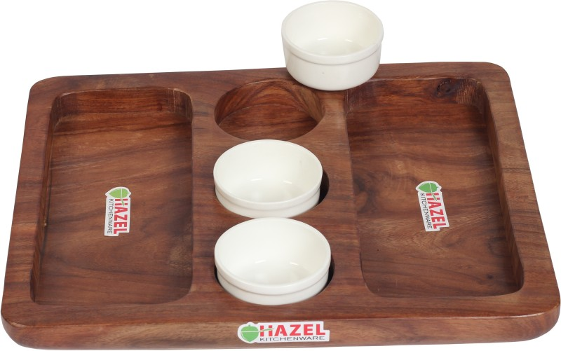 Hazel Wooden Platter Serving Plate with 3 Pc Sauce Bowls, Brown Tray