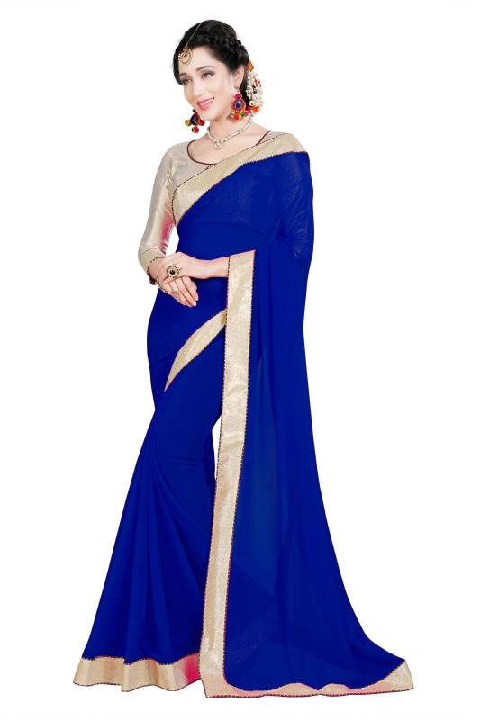BAPS Plain Bollywood Georgette Saree(Blue)