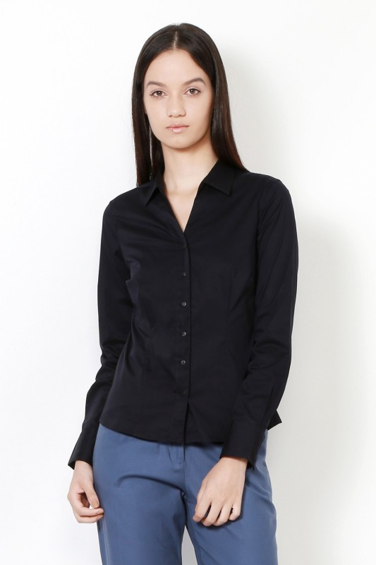 Van Heusen Women Solid Formal Black Shirt