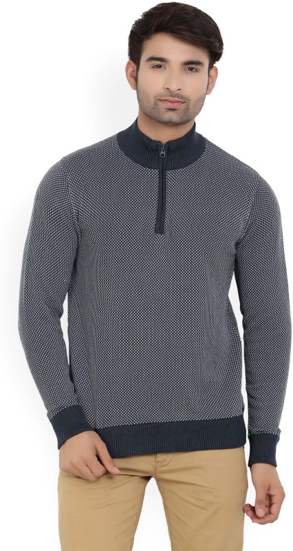 Allen Solly Woven Turtle Neck Casual Mens Blue Sweater
