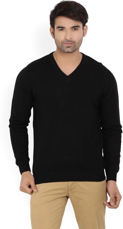 Wills Lifestyle Solid V-neck Formal Mens Black Sweater
