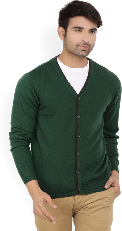 Raymond Solid V-neck Casual Men Green Sweater