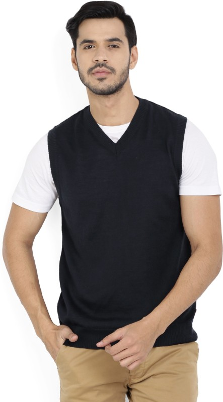 Raymond Solid V-neck Formal Men Dark Blue Sweater