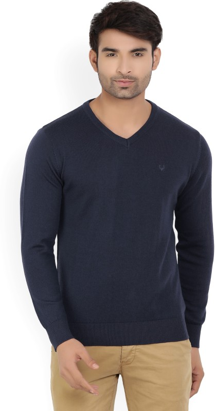 Allen Solly Solid V-neck Casual Mens Dark Blue Sweater