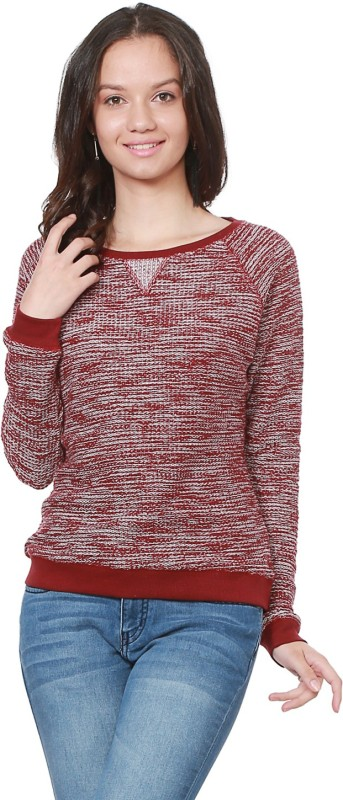 People Self Design Round Neck Casual Women Red Sweater
