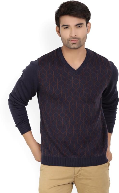 Wills Lifestyle Self Design V-neck Casual Mens Dark Blue Sweater