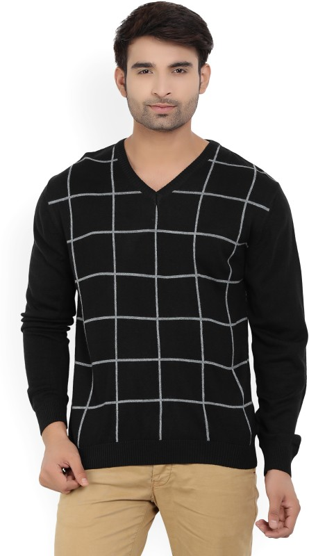 Wills Lifestyle Checkered V-neck Casual Mens Black Sweater