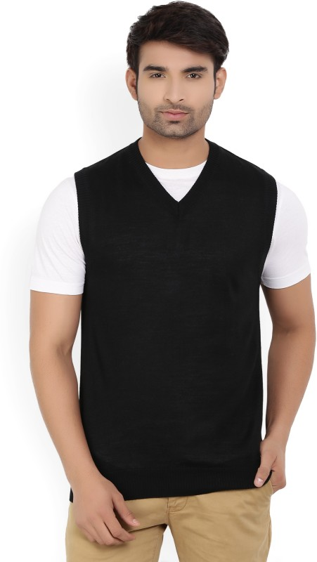 Raymond Solid V-neck Casual Men Black Sweater