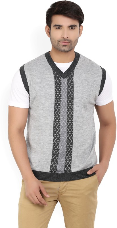 Wills Lifestyle Self Design V-neck Casual Mens Grey Sweater