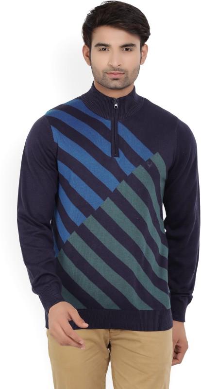 Allen Solly Self Design Turtle Neck Casual Mens Blue Sweater