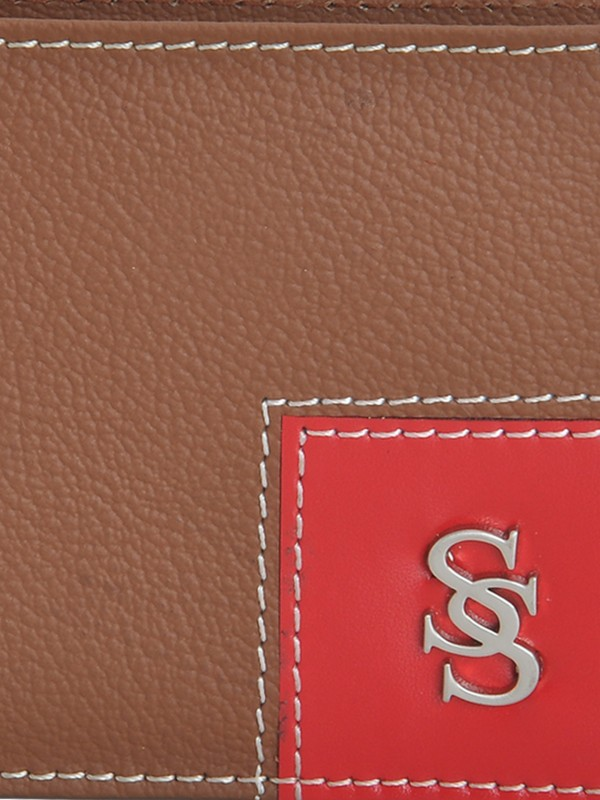 Second Skin Men Tan Genuine Leather Wallet(10 Card Slots)