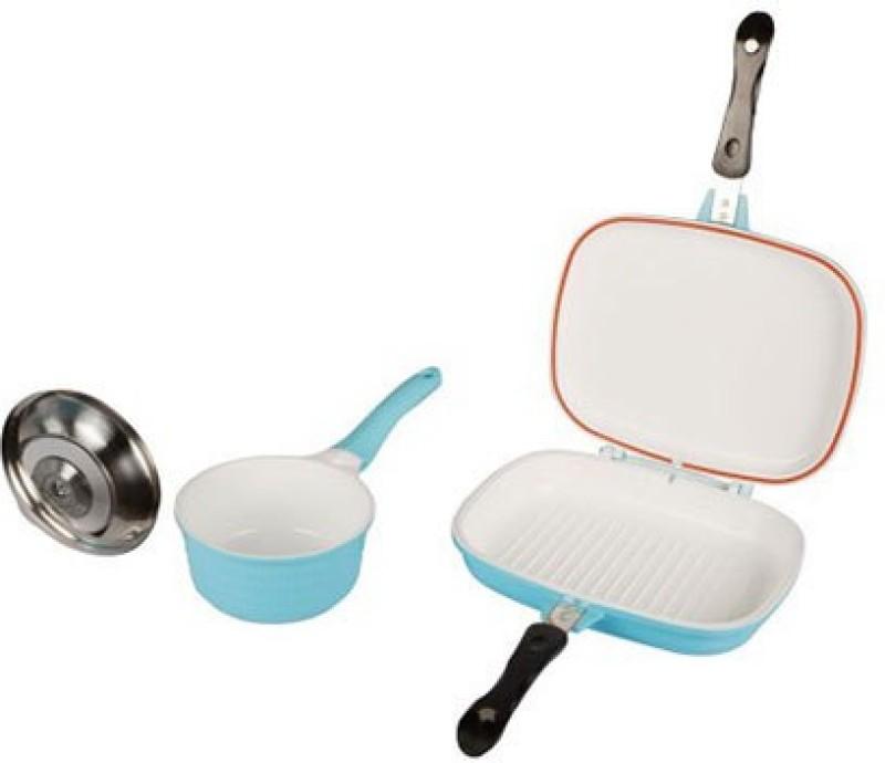Lalco Interiors Blue Round Non Stick Induction Bottom Cookware Set(Aluminium, Ceramic, 21 - Piece)
