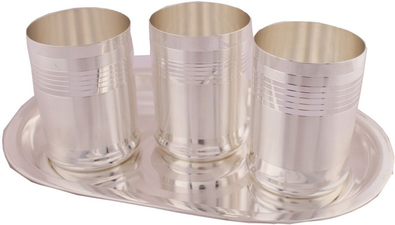 Shreeng Shreeng Silver Plated Premium Glass Set With oval Tray 4 Pcs. Glass Tray Serving Set(Pack of 5)