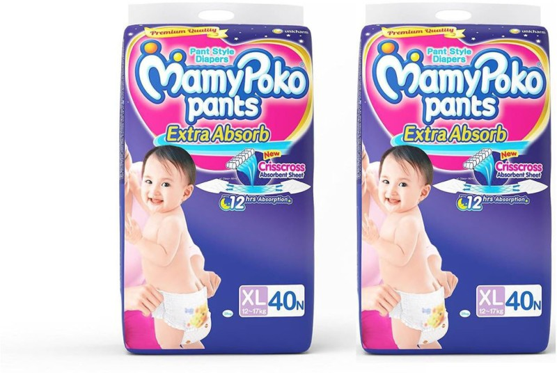 MamyPoko EXTRA ABSORB PANT STYLE DIAPERS ( SET OF 02 PACKS OF 40 Pcs.) - XL(80 Pieces)