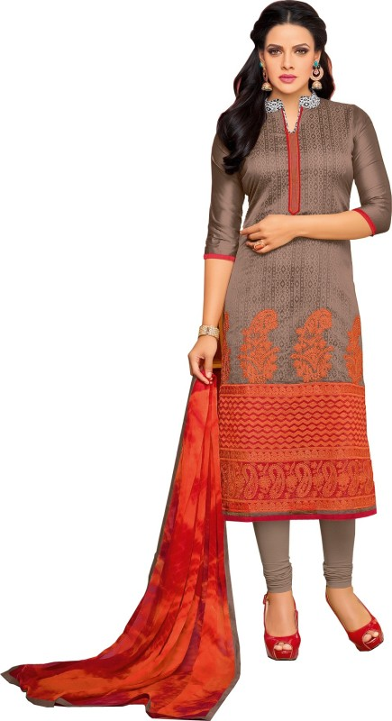 Rajnandini Chanderi Embroidered Dress/Top Material(Un-stitched)