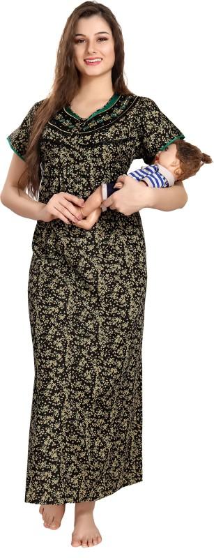 AV2 Women Maternity/Nursing Nighty(Black, Green)