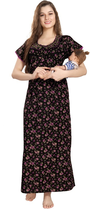 AV2 Women Maternity/Nursing Nighty(Black, Purple)