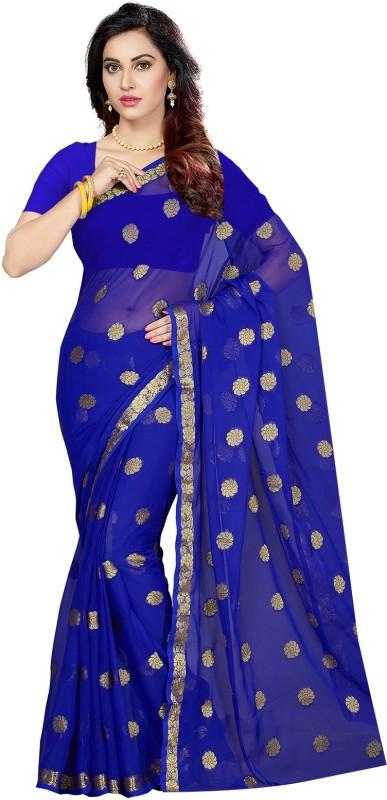 Ishin Woven Bollywood Chiffon Saree(Blue)