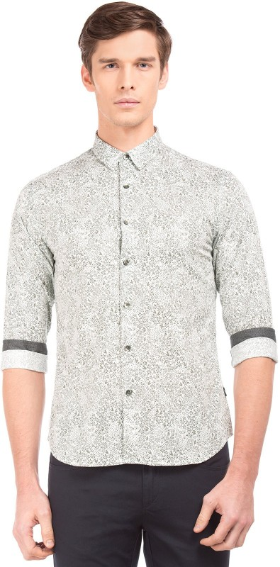 Flying Machine Men Printed Casual White Shirt