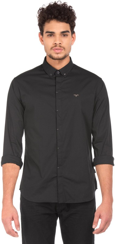 Flying Machine Men Solid Casual Black Shirt